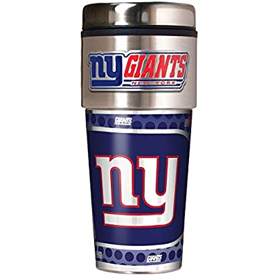 NFL Metallic Travel Tumbler, Stainless Steel and Black Vinyl, 16-Ounce