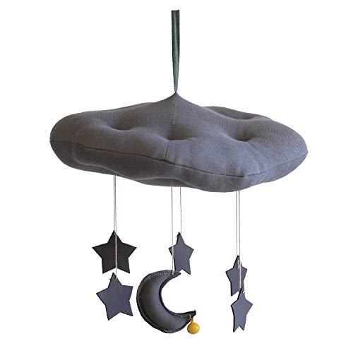 Baby Crib Mobile, Handmade Felt Moon and Stars Crib-Mobile, Hanging Nursery-Decor Gift for Newborn Room Decor, Baby-Shower Present from Pillow & Toast