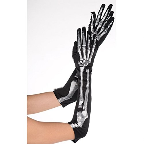 [Long Skeleton Gloves Costume Accessory] (Funny Bones Skeleton Costume)