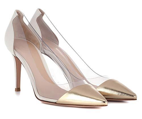 Aiguille Taille Transparent Pvc Grande Femmes Stilettos 85mm Chaussures Talons Or a Femme Ubeauty Haut Escarpins Talon qTX00w