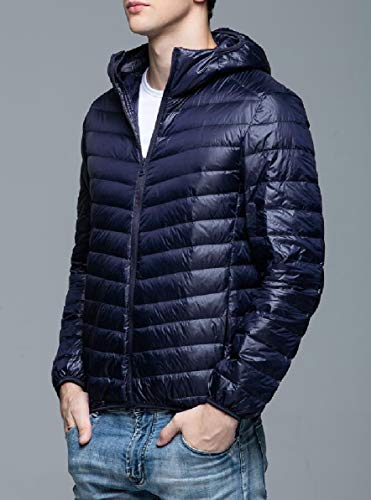 Jacket Navy Blue Coat Windproof Down Puffer Insulated Winter Mens security Hooded zqZw8UHpx