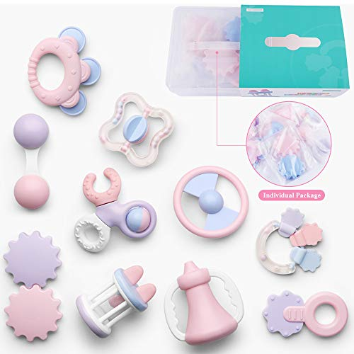 Deluxe 10 Piece Baby Rattle Sensory Teether Play Set Newborns | Suitable 0-18 Months Old | Perfect Boys Girls | Teething Toys BPA Free Early Development