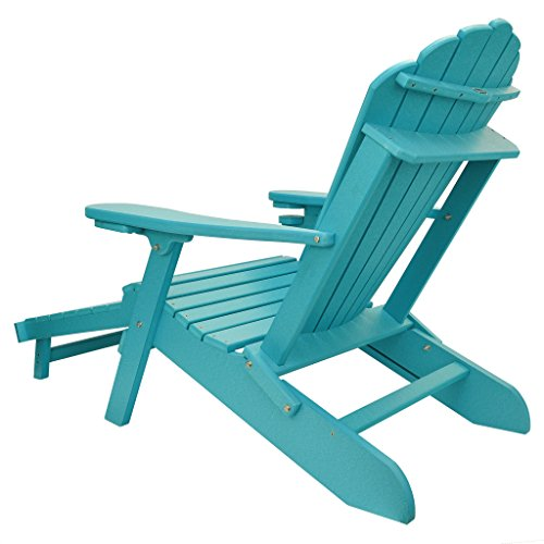 ECCB Outdoor Outer Banks Deluxe Oversized Poly Lumber Folding Adirondack Chair with Integrated Footrest (Royal Blue)