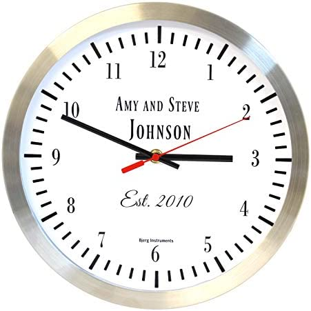 Bjerg Instruments Custom 12 Inch Wall Clock – Personalize with Name and Date