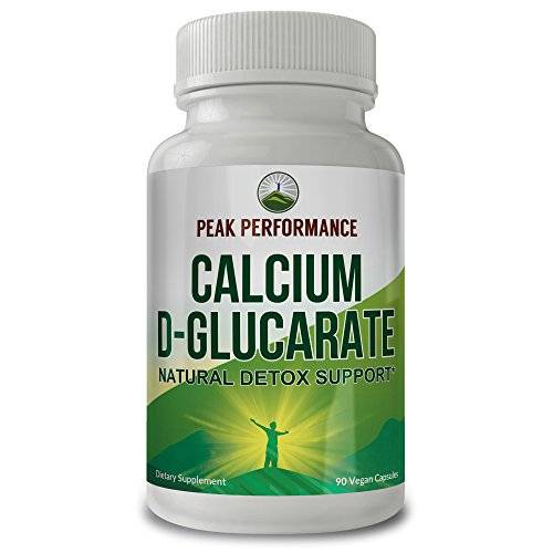 Calcium D-Glucarate Natural Detox Support by Peak Performance. Eliminates Metabolic Waste and Lowers Bad Cholesterol. Support for Improved Metabolism, Promotes Liver, Prostate (1 Pack)