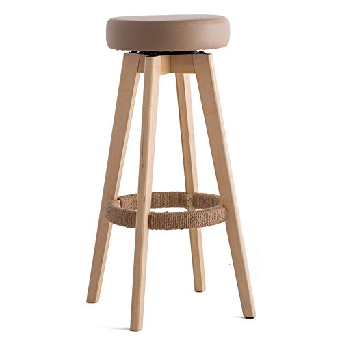 Wooden Rotate Seat Round Chair High Stool Bar Kitchen Breakfast Stool Nordic Simple Style Brown ( Color : #2 , Size : 48cm48cm74cm ) by LPZ-STOOL