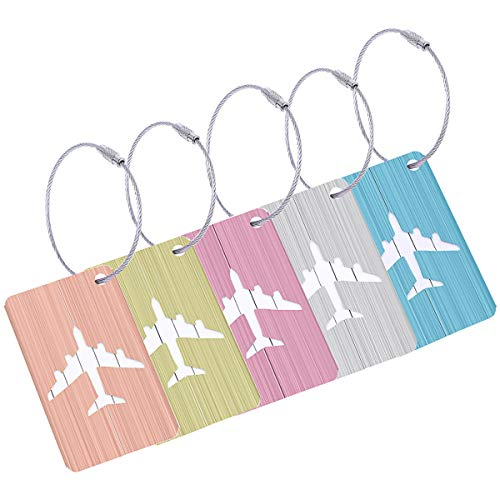 CJRSLRB 5Pcs Airplane Luggage Tags, Aluminium Alloy Baggage Suitcases Name Labels Travel Bag Tags (5 Color) ()