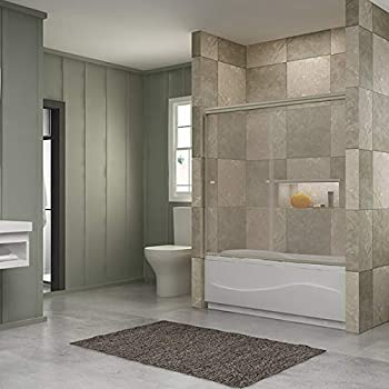 New 60 Quot Width Bypass Frameless Sliding Bathtub Doors 1 4
