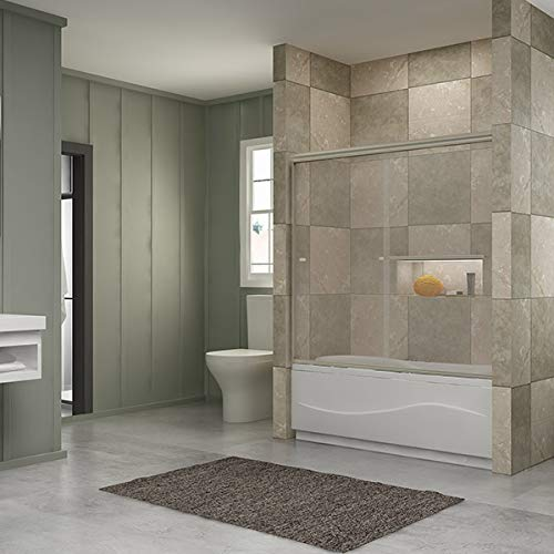 SUNNY SHOWER Bathtub Door 60 W x 57.4 H Bathtub Glass Sliding Shower Tub Door 1 4 Clear Glass, Brushed Nickel Finish