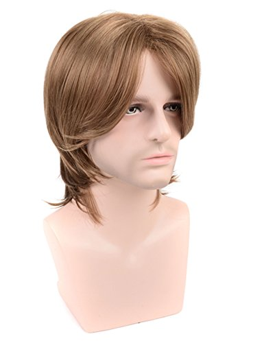 TopWigy Men Male Brown Wigs Short Straight Synthetic Hair Middle Part Wig for Guy Natural Looking Cosplay Anime Wig (Brown 14