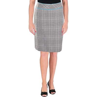 Tahari ASL Womens Petites Plaid Office Pencil Skirt