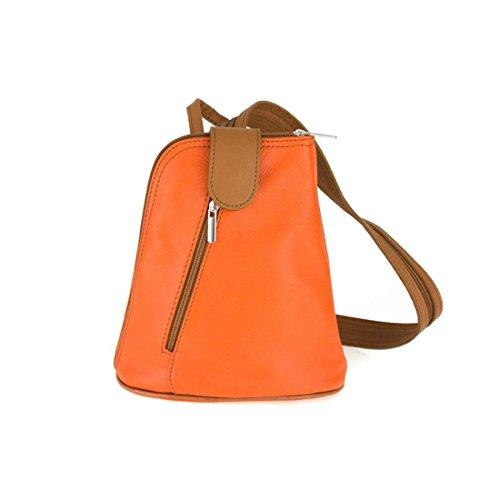 main 22x23x12 Orange Sac noir à ca ITALYSHOP24 dos BxHxT cm au porté femme Noir rouge COM pour qftapO