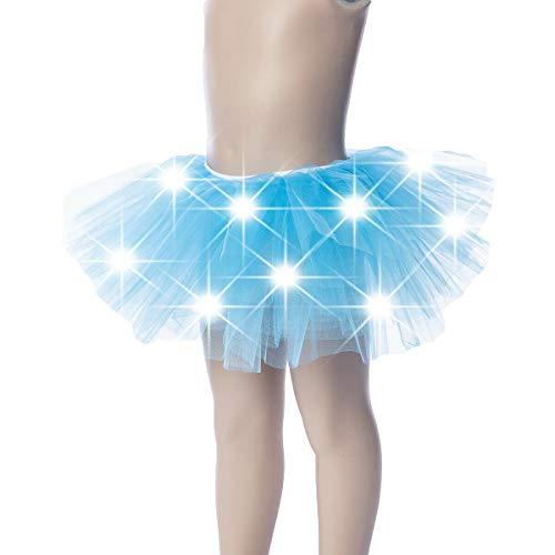 WPNAKS Girls Light Up LED Tutu Mini Skirt Elastic Dress Costume Party Dance for Kids (Blue) (Glow In The Dark Tutu For Kids)