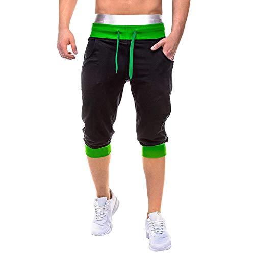 YAYUMI 2019 Men Summer Casual Elastic Joggings Sport Solid Baggy Pockets Short Pant Green (Best 2 Slice Toaster 2019)