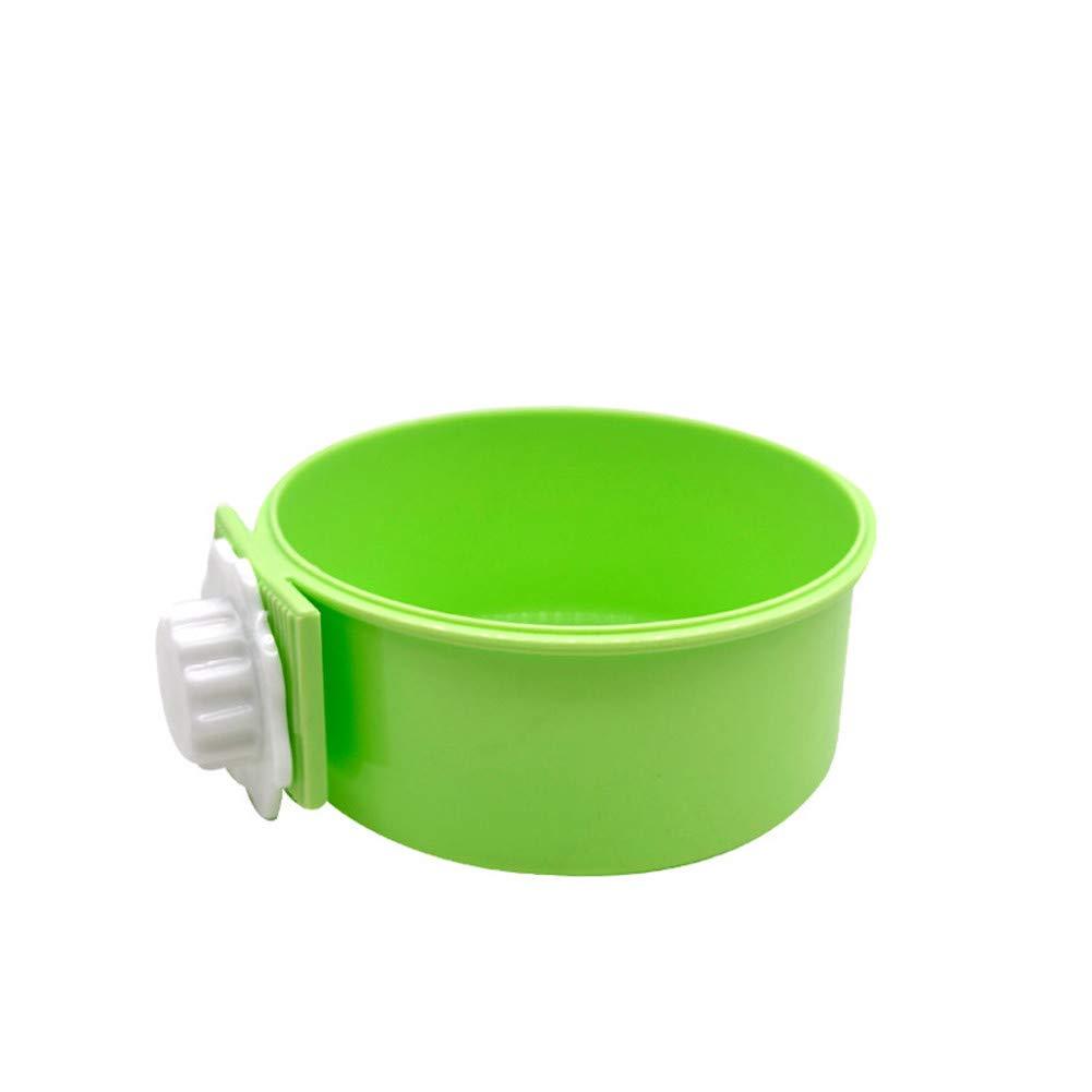 Green WU-pet supplies Pet Food Bowl Hanging Stainless Steel Dog Bowl Fixed cat Pot cat Bowl Dog Hanging cage Dog Bowl, Green