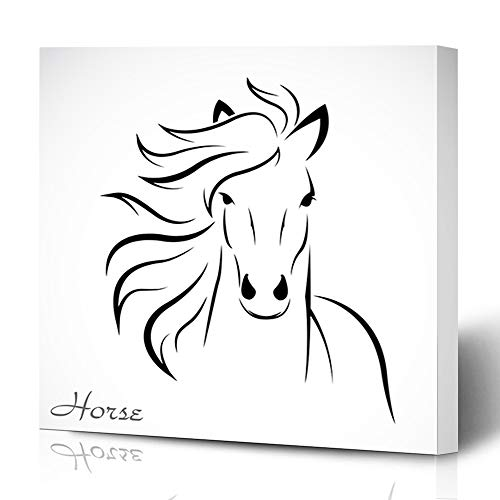 Ahawoso Canvas Prints Wall Art Printing 8x12 Head Horse On White Animals Wildlife Mane Nature Silhouette Outline Speed Abstract Race Equestrian Painting Artwork Home Living Room Office Bedroom Dorm (Painting Horse Silhouette)