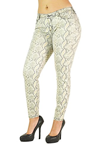 Poetic Justice Women's Curvy Fit Gold Coated Stretch Twill Lizard Print Skinny Jeans Size 30 x (Perfect Stretch Twill Cropped Pants)