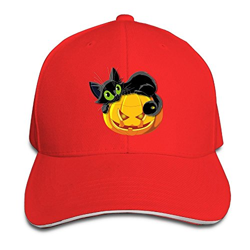 Unisex Black Cat Halloween Peaked Baseball Cap Eight Kinds of Color Can Choose Suitable for Four Seasons Wear -