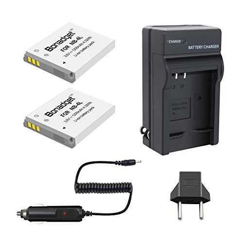 Bonadget Replacement Canon NB-4L Battery and Charger for CB-2LV PowerShot SD40 SD30 SD200 SD300 SD400 SD430 SD450 SD600 SD630 SD750 SD780 is SD940 is SD1000 SD1100 -