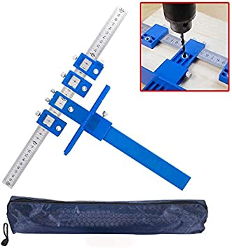 hangzhoushiJacob Elsie Cabinet Hardware Jig Aluminum Alloy Cabinet Drawer Drilling Template Jig Punch Locator Drill Guide Cabinet Handle Template Tool