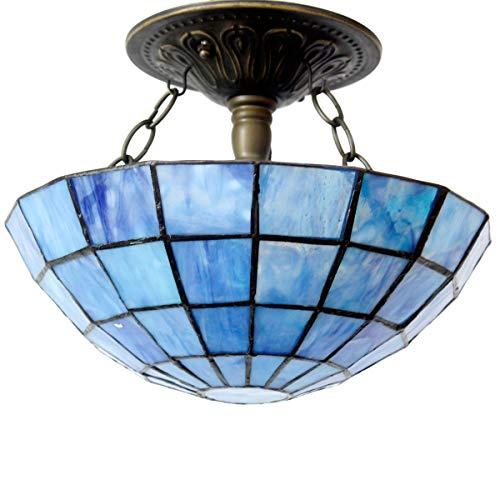Blue Green Glass Pendant Light in US - 5