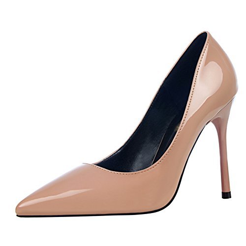 Party Toe Pointed Nude Stilettos Women's Patent Manmade High Leather fereshte Heels Sexy gx8Hwwz