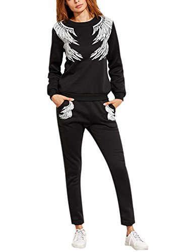 Mojessy Women's Sweatsuits 2 Piece Outfits Feather Wings Print Sports Set Long Sleeve Shirt+Pants Tracksuit Small Black