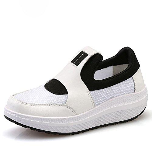 Cybling Confortable Faible Coin Athlétique Marche Chaussures De Course Mode Sneakers Occasionnels Pour Les Femmes Blanc