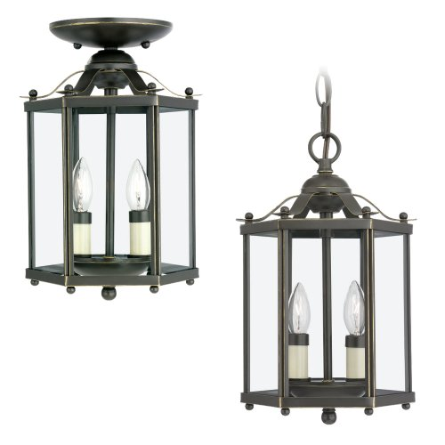 Sea Gull Lighting 5232-782 Bretton Two-Light Semi-Flush Convertible Pendant with Clear Glass Panels, Heirloom Bronze Finish (Bretton Pendant Lighting)