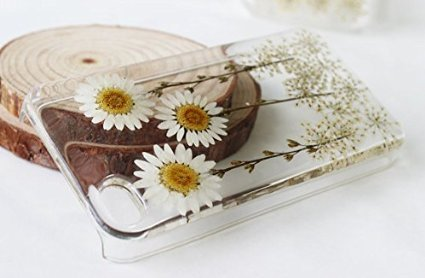 Rebbygena iPhone 5S iPhone SE Flower Phone Case Custom Daisy Floral Real Pressed Flowers Phone Case for iPhone 5s Dried Flower iPhone Case