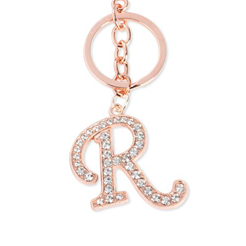 R Initial Charms - 3-Pack Rose Gold Letter Keyring, Purse Keychain for Handbags, Crystal Alphabet Initial Letter Pendant with Key Ring, 5 Inches