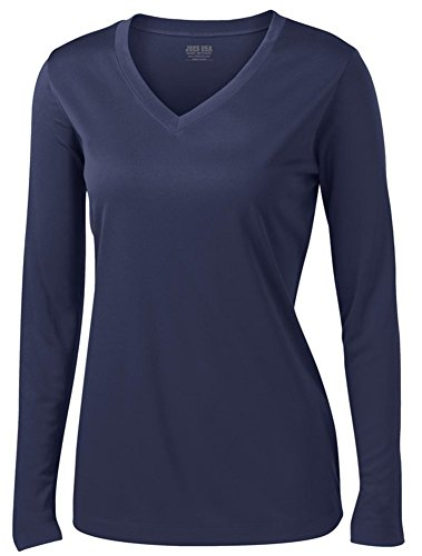 Joe's USA(tm - Ladies Long Sleeve Moisture Wicking Athletic Shirts, Navy X-Small ()