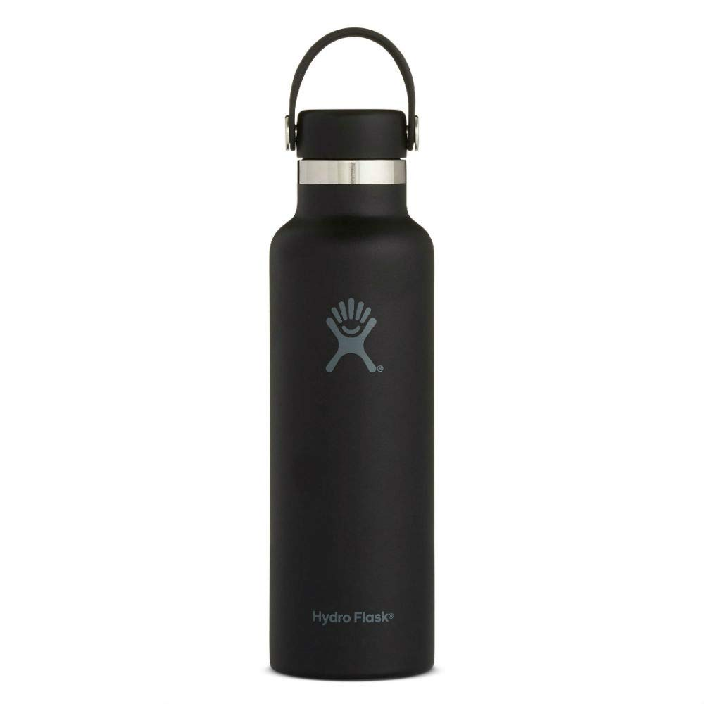 0fa743b45d Hydro Flask Skyline Series 21 oz Double Wall Vacuum Insulated Stainless  Steel Leak Proof Sports Water Bottle, Standard Mouth with BPA Free Flex  Cap, Black