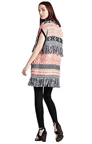 - Lucky Brand - Red Geometric Fringe Cardigan Sweater Vest (X-Small/Small)