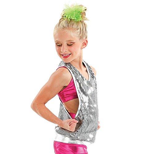Gia-Mia Dance Big Girls Reflection Tunic, Silver, (Sequin Racer Tank)