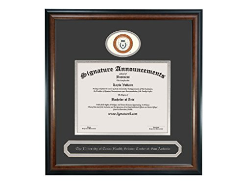 Texas San Antonio Seal (Signature Announcements University-of-Texas-Health-Science-Center-At-San-Antonio Undergraduate Sculpted Foil Seal & Name Diploma Frame, 20 x 20, Matte Mahogany)