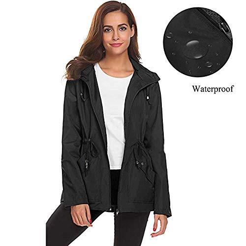 HHei_K Womens Loose Long Sleeve Solid Waterproof Raincoat Casual Lightweight Zip Fly Hooded Rain Jacket