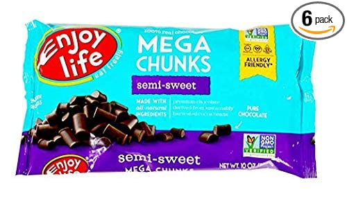 Enjoy Life Baking Chocolate Soy Free Nut Free Gluten Free Dairy Free Non Gmo Vegan Paleo Semi Sweet Mega Chunks 10 Ounce Bags Pack Of 6