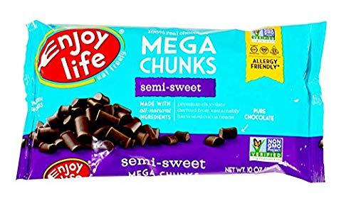 Enjoy Life Baking Chocolate, Soy free, Nut free, Gluten free, Dairy free, Non GMO, Vegan, Paleo, Semi Sweet Mega Chunks, 10 Ounce Bags (Pack of 6) by Enjoy Life Foods