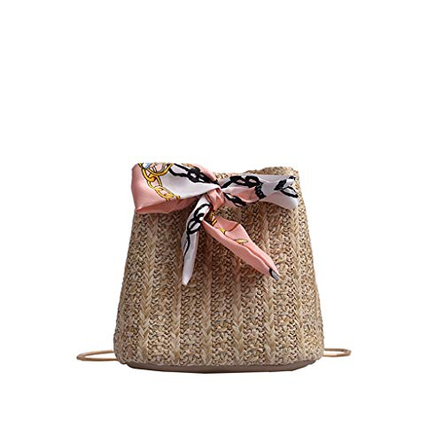 Woven Bucket Bag Beach Snack Chain Bag Straw for Young Lady Girls Holiday Small Pouch Scarf Handle Small Pouch Sling Bag ()