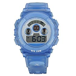 Kids Boys Girls Water Resistant Digital Sports Wrist Watches Transparent Blue