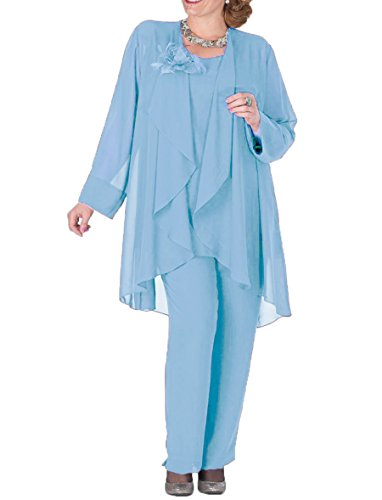 3 Pieces Mother Pantsuits with Jacket Plus Size Formal Outfits Size 24 Sky Blue