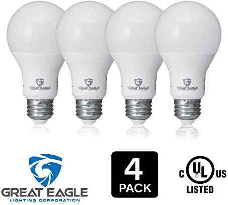 Great Eagle 100W Equivalent LED Light Bulb 1575 Lumens A19 4000K Cool White Non-Dimmable 15-Watt UL Listed 6-Pack