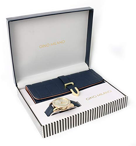 Women's Matching Leather Watch & Tri-Fold Wallet Gift Set - Navy Blue