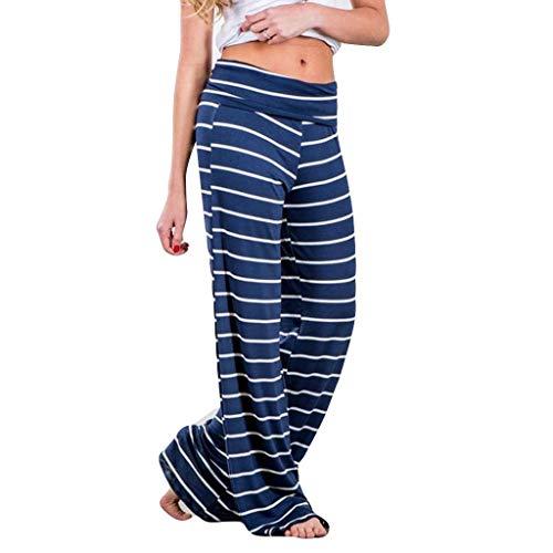 〓COOlCCI〓Women Pants,Women's Comfy Casual Pajama Pants Stripe Palazzo Lounge Pants Wide Leg Sleepwear PJ Bottom Trousers ()