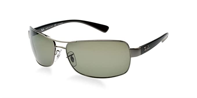 rb3379 u4jw  Ray Ban RB3379 004/58 64mm Gunmetal/Crystal Green Polarized Bundle