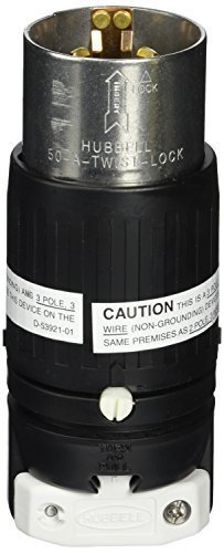 Hubbell HBL7765C Locking Plug, 3 Pole and 4 Wire, 50 amp, 250VDC/600VAC