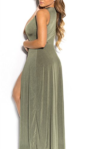 Fendue Jupe Hippolo M rouge Vert De Dress Night V De Femme Bandage Profond rOwqpY0O