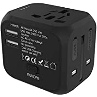 Yardsky Travel Adapter Universal All-in-one International USB Travel Adapter with 2-Port USB Charger Worldwide AC Wall Outlet Plugs for AU,UK, EU, Africa, Asia Covers Over 150 Countries