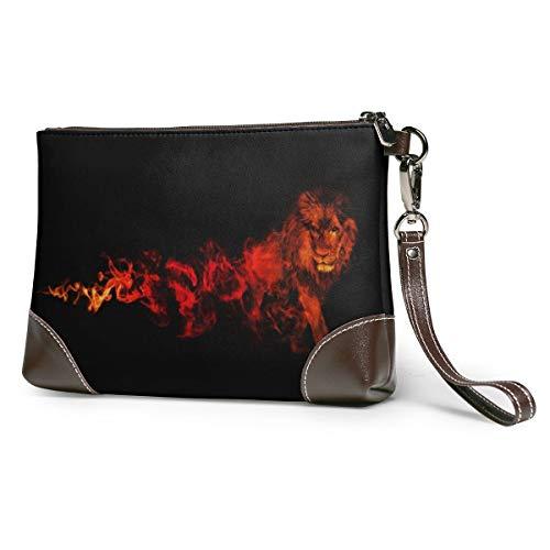 Women's Leather Zipper Wristlet Lion Fire Black Artwork Cellphone Card Wallets Clutch Holder Purse